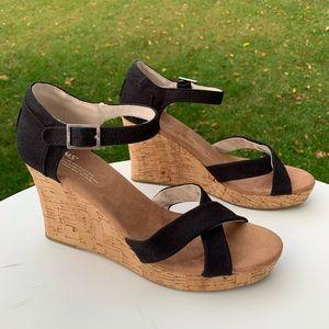 Toms Shoes - TOMS Black Criss Cross Canvas Cork Wedge Sandals